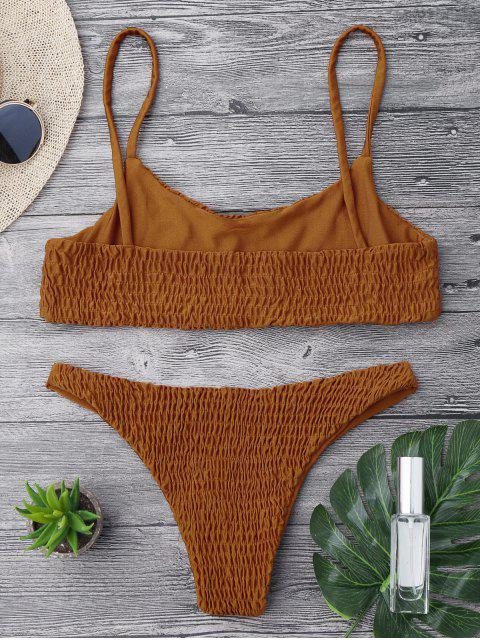 ladies Smocked Bikini Top and Bottoms - BROWN L Mobile