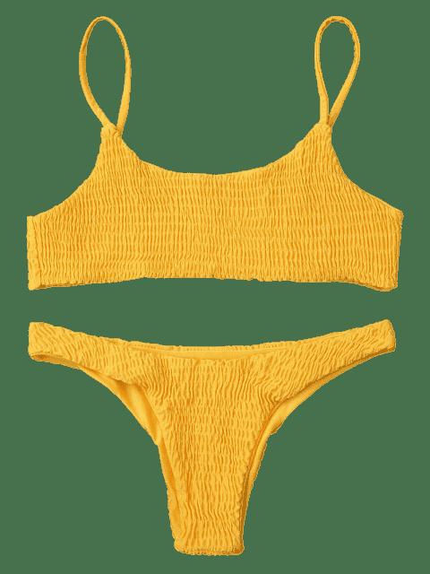 new Smocked Bikini Top and Bottoms - YELLOW M Mobile