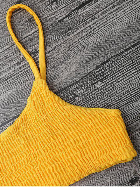 hot Smocked Bikini Top and Bottoms - YELLOW S Mobile