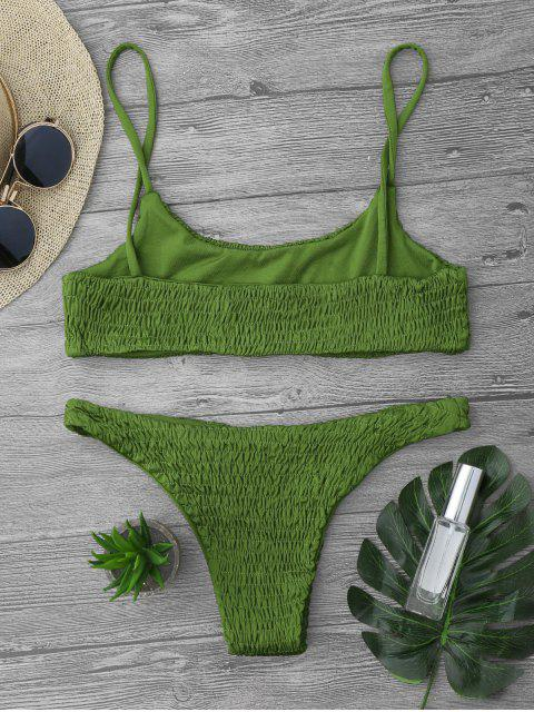 outfit Smocked Bikini Top and Bottoms - GREEN L Mobile