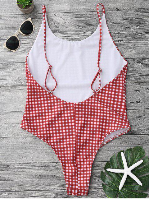 womens Open Back Gingham One Piece Swimsuit - RED AND WHITE L Mobile