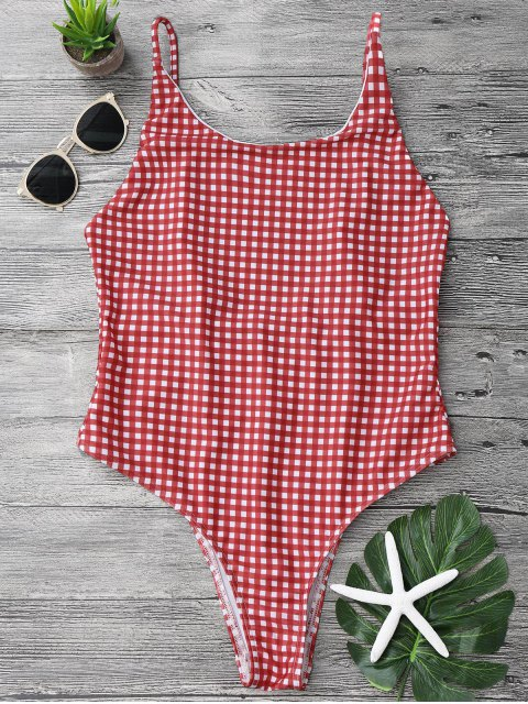 women Open Back Gingham One Piece Swimsuit - RED AND WHITE M Mobile
