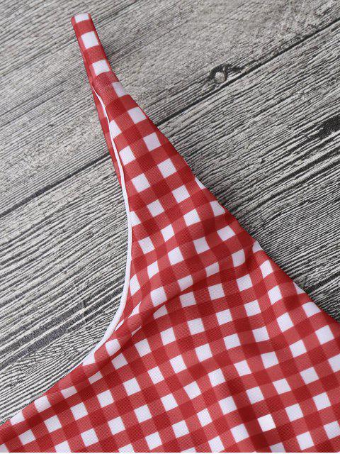 Maillot de Bain Une Pièce Dos Nu à Petits Carreaux - Rouge et Blanc S Mobile