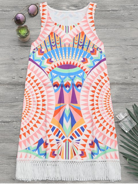 online African Print Beach Cover Up Tank Dress - MULTICOLOR S Mobile
