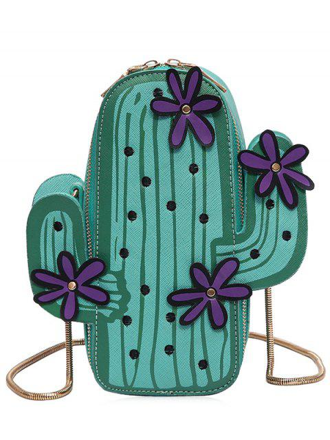 ladies Funny Cactus Shaped Crossbody Bag - GREEN  Mobile