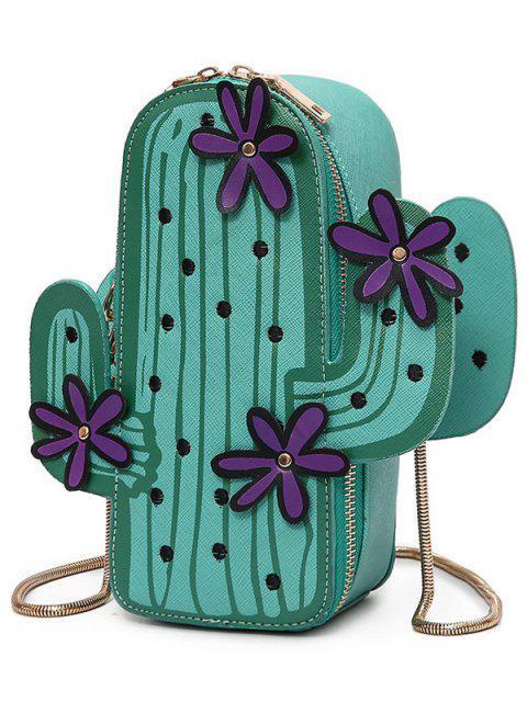 ladies Funny Cactus Shaped Crossbody Bag - GREEN  Mobile