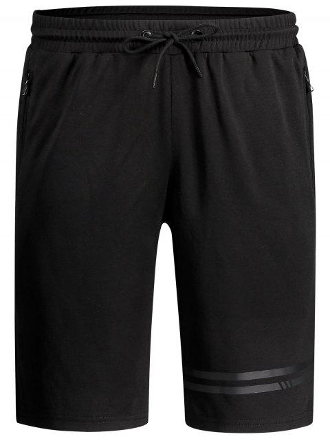 buy Seamless Zip Pocket Drawstring Shorts - BLACK L Mobile