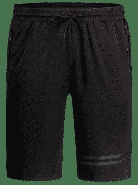 womens Seamless Zip Pocket Drawstring Shorts - BLACK 5XL Mobile