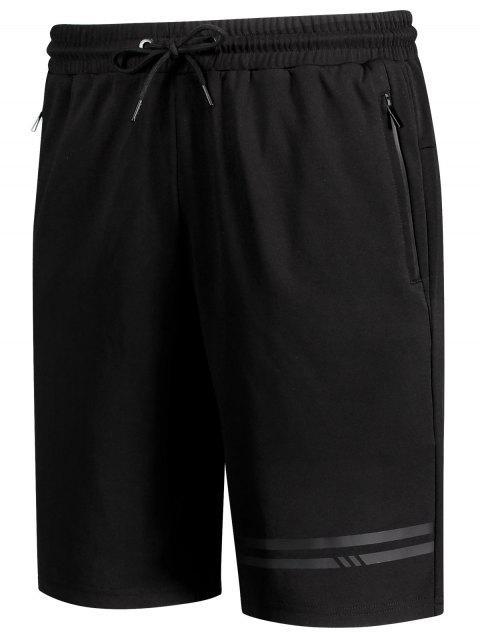 women Seamless Zip Pocket Drawstring Shorts - BLACK 4XL Mobile