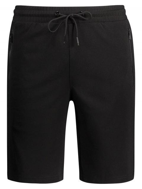 online Zip Pocket Drawstring Sport Shorts - BLACK 5XL Mobile