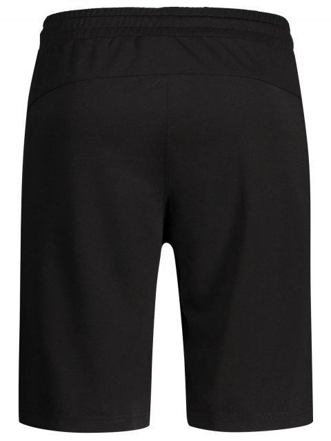 outfit Zip Pocket Drawstring Sport Shorts - BLACK 2XL Mobile