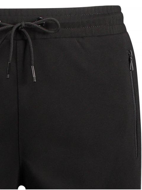 outfits Zip Pocket Drawstring Sport Shorts - BLACK XL Mobile