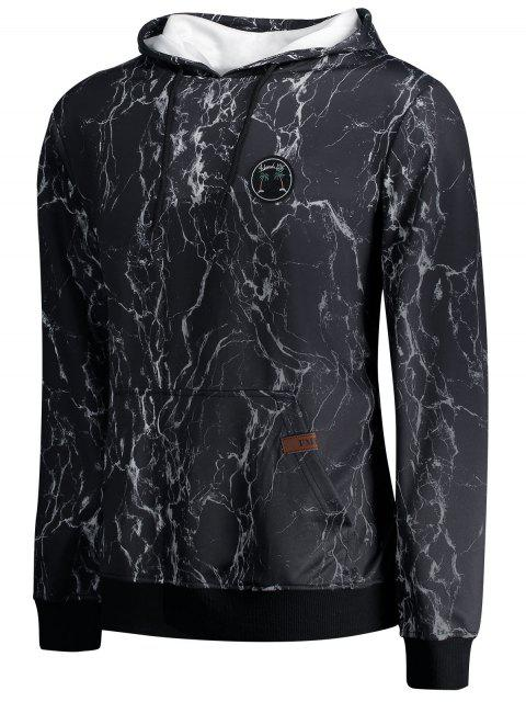 outfit Lightning Print Kangaroo Pocket Hoodie - BLACK M Mobile