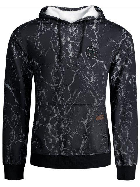 Sweat à Capuche Imprimé Éclair avec Poche Kangourou - Noir XL Mobile