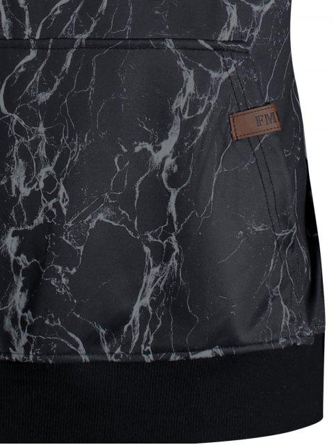 shop Lightning Print Kangaroo Pocket Hoodie - BLACK XL Mobile