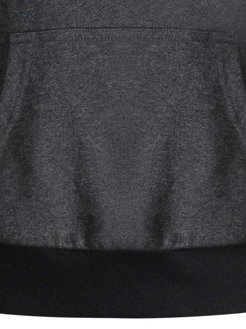 Kangaroo Pocket Patch Pullover Hoodie - Gris Foncé M Mobile