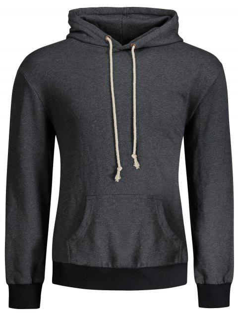 sale Kangaroo Pocket Patch Pullover Hoodie - DEEP GRAY L Mobile