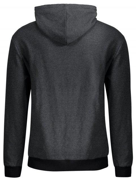 sale Kangaroo Pocket Patch Pullover Hoodie - DEEP GRAY L Mobile