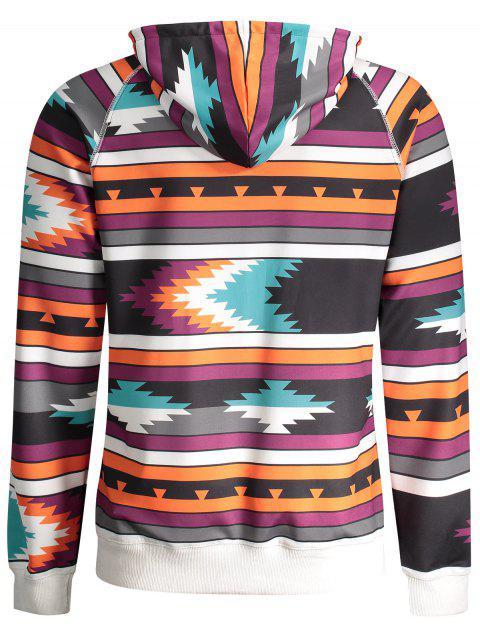 fashion Raglan Sleeve Tribal Print Pullover Hoodie - COLORMIX M Mobile