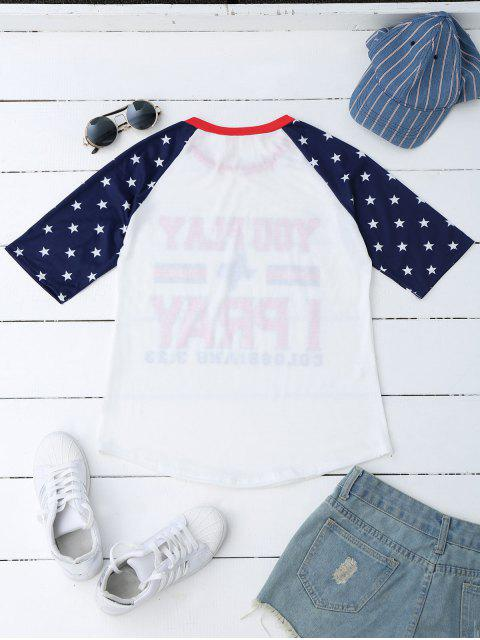 T-shirt à manches longues Raglan - Blanc M Mobile