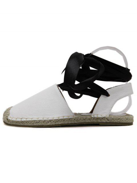 lady Tie Up Espadrilles Flat Heel Sandals - WHITE 39 Mobile