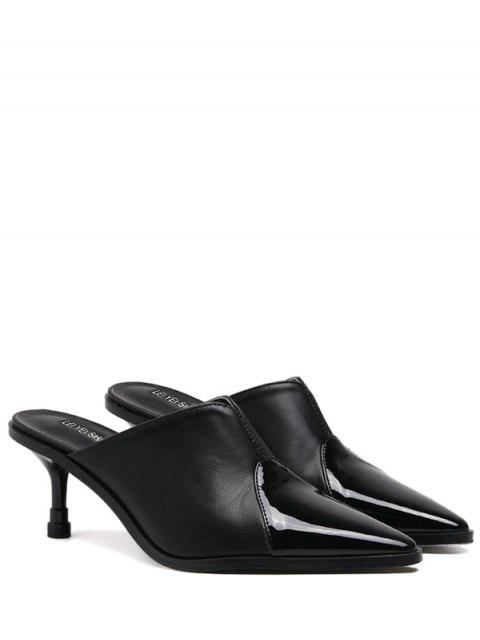hot Faux Leather Pointed Toe Slippers - BLACK 37 Mobile
