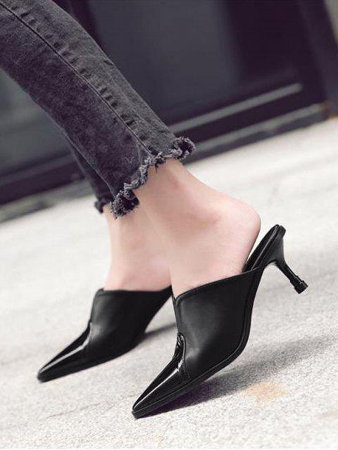outfit Faux Leather Pointed Toe Slippers - BLACK 38 Mobile