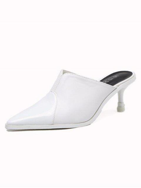 shop Faux Leather Pointed Toe Slippers - WHITE 39 Mobile