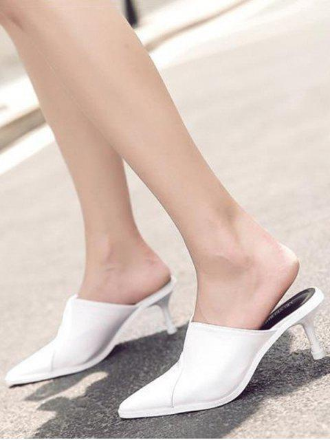 shops Faux Leather Pointed Toe Slippers - WHITE 37 Mobile