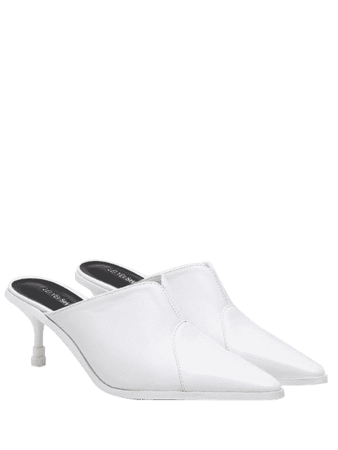 latest Faux Leather Pointed Toe Slippers - WHITE 38 Mobile