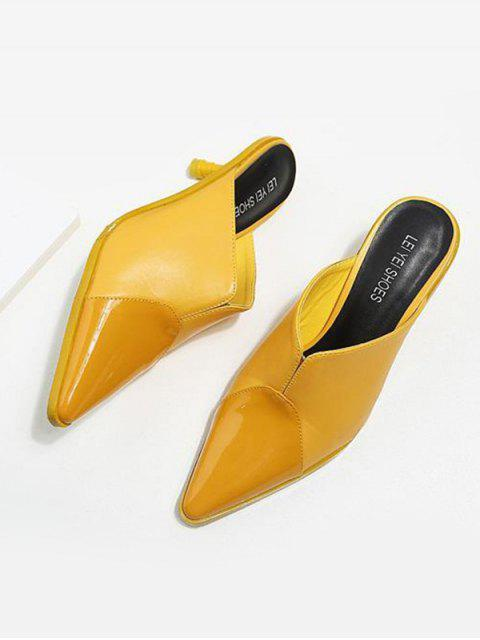 chic Faux Leather Pointed Toe Slippers - YELLOW 38 Mobile