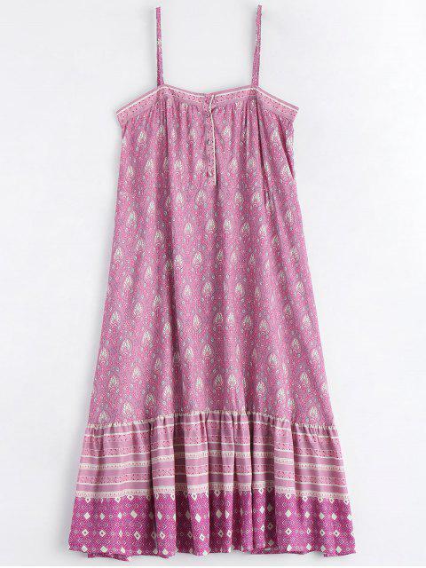 Bedruckte halb geknöpfte Rüschen Slip Dress - Mehrfarbig M Mobile