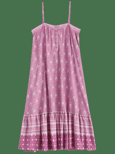 sale Printed Half Buttoned Ruffles Slip Dress - MULTICOLOR L Mobile