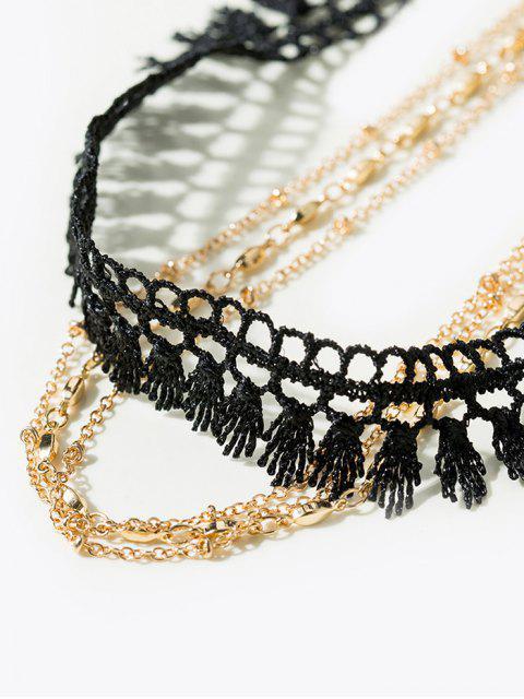 Tassel Vintage Chain Choker Necklace - Or  Mobile