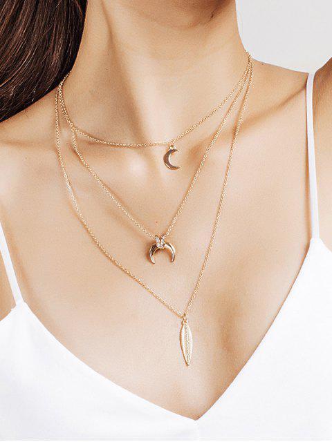 women's Rhinestone Moon Leaf Pendant Layered Necklace - GOLDEN  Mobile