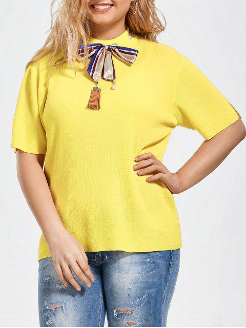 hot Bowknot Knitted Plus Size Top with Silk Scarf - YELLOW 2XL Mobile