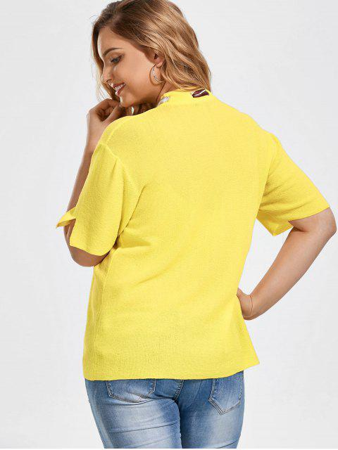 outfit Bowknot Knitted Plus Size Top with Silk Scarf - YELLOW 3XL Mobile