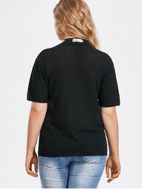 Bowknot Tricoté Taille Plus avec foulard en soie - Noir 2XL Mobile