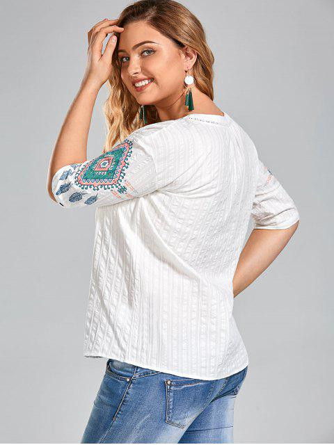trendy Graphic Plus Size Half Buttoned Top - WHITE 3XL Mobile