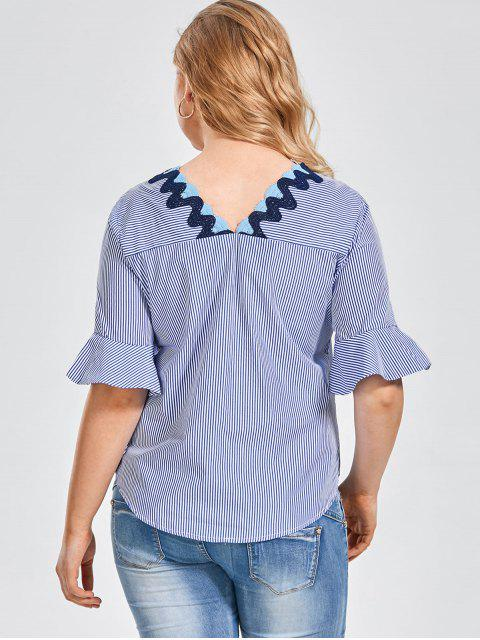 ladies Embroidered Patched Stripes Plus Size Top - STRIPE 3XL Mobile