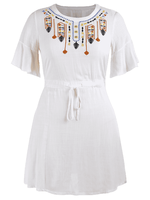 Robe à volants brodé - Blanc 3XL Mobile