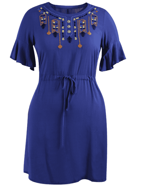 outfits Plus Size Embroidered Belted Ruffles Dress - BLUE 2XL Mobile
