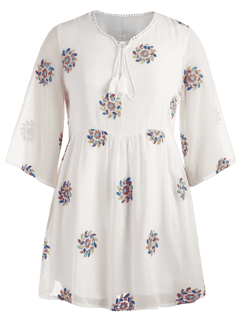 shops Plus Size Embroidered Lace Trim Dress - WHITE XL Mobile