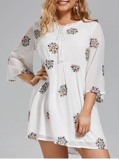 Plus Size gesticktes Spitze-Ordnungs-Kleid - Weiß 3XL Mobile