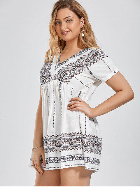 Batwing Graphic Plus Size Robe - Blanc XL Mobile