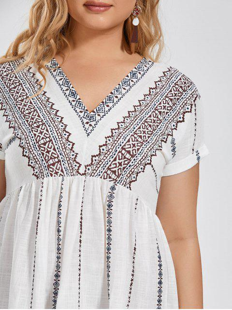 chic Batwing Graphic Plus Size Dress - WHITE 2XL Mobile