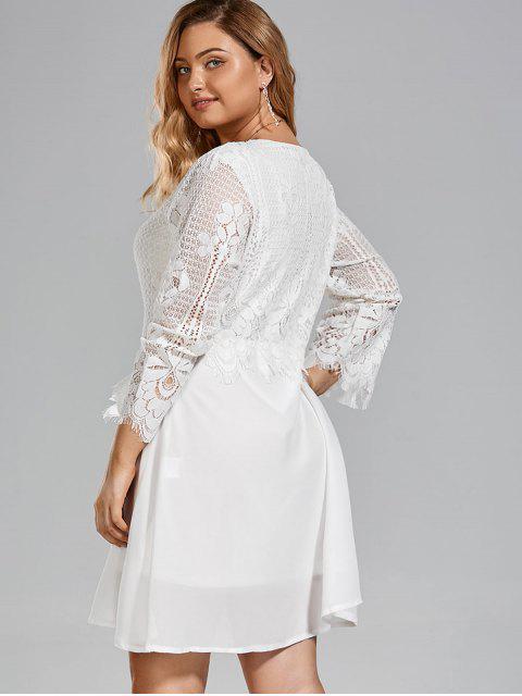 Robe à manches courtes taille grande en mousseline de soie - Blanc XL Mobile