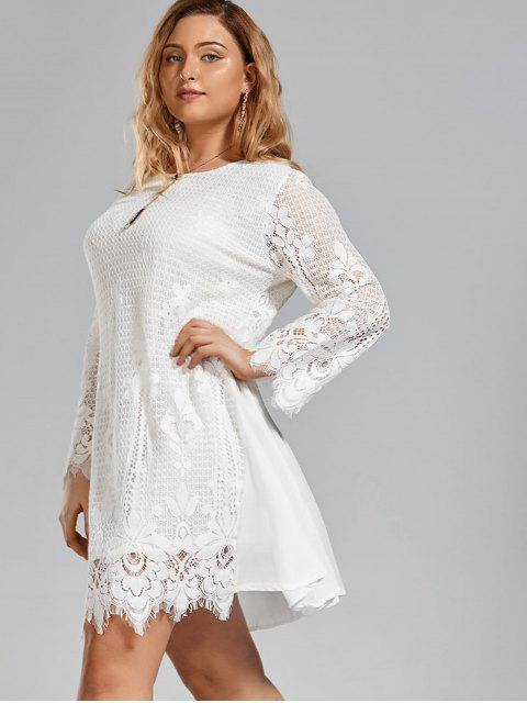 Robe à manches courtes taille grande en mousseline de soie - Blanc 3XL Mobile