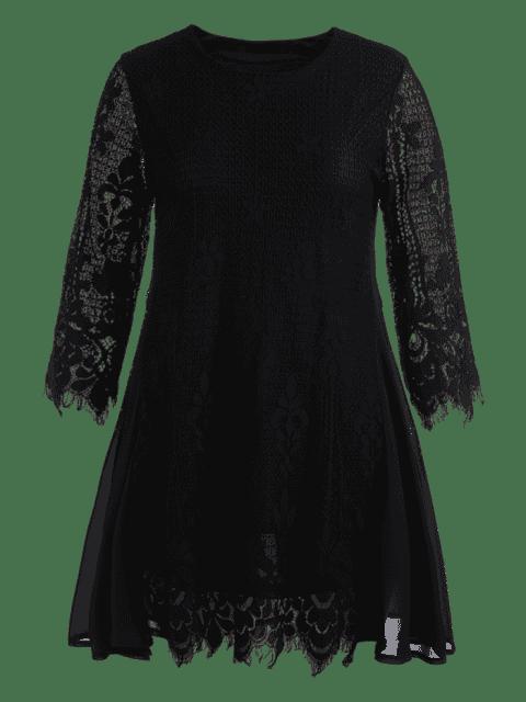 Robe à manches courtes taille grande en mousseline de soie - Noir 2XL Mobile
