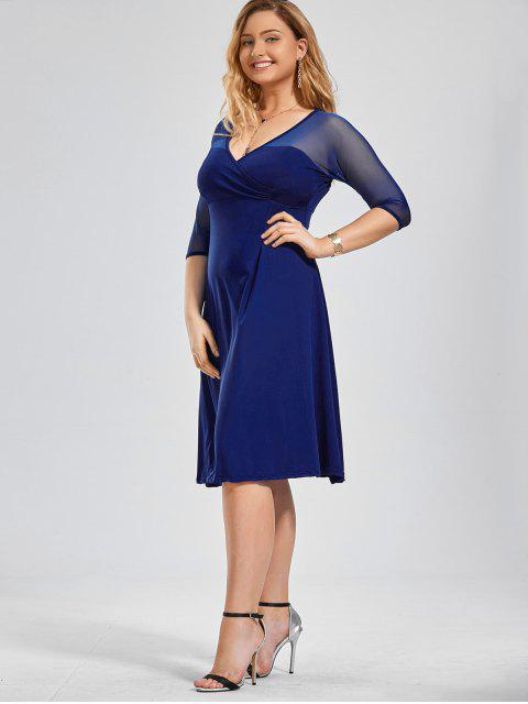 online Voile Panel Plus Size Surplice Dress - BLUE 2XL Mobile